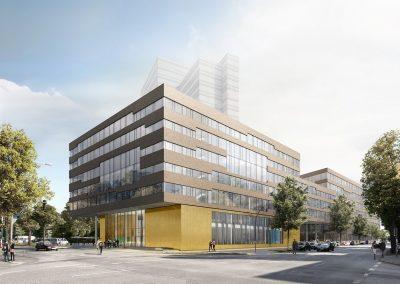 Njemačka, Hamburg (Geomatikum) – Montaža kontinuirane aluminijske fasade te stakljenje i postavljanje prozorskih elemenata (Schüco sistem).