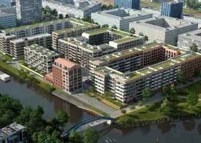 Njemačka, Berlin (Riverside) – Montaža kontinuirane fasade te prozorskih elemenata (Schüco sistem).