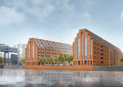 Njemačka, Berlin (Spreespeicher Cuvrystraße) – Postavljanje prozorskih elemenata na 8 uzastopnih zgrada (Wicona sistem).