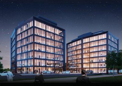 Njemačka, Mönchengladbach (Paspartou) – Montaža aluminijske fasade, panela i atike (Schüco sistem).